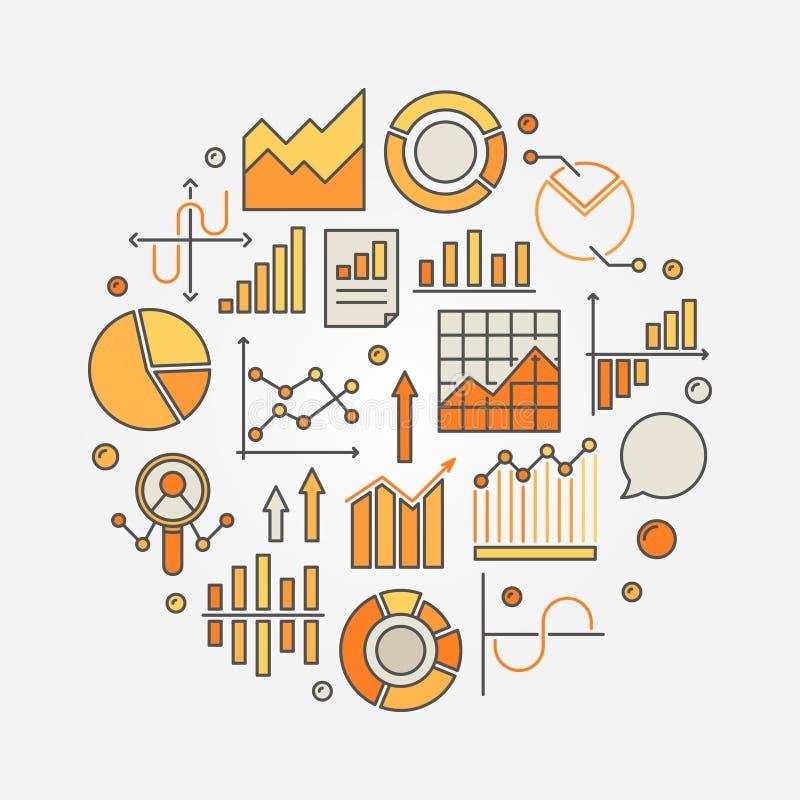 Ejemplo colorido del análisis de las estadísticas y de datos stock de ilustración