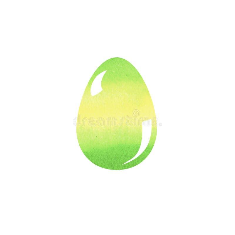 Ejemplo colorido del cepillo del dibujo de la mano del huevo de Pascua con las acuarelas Diseño gráfico con el fondo blanco Día d ilustración del vector