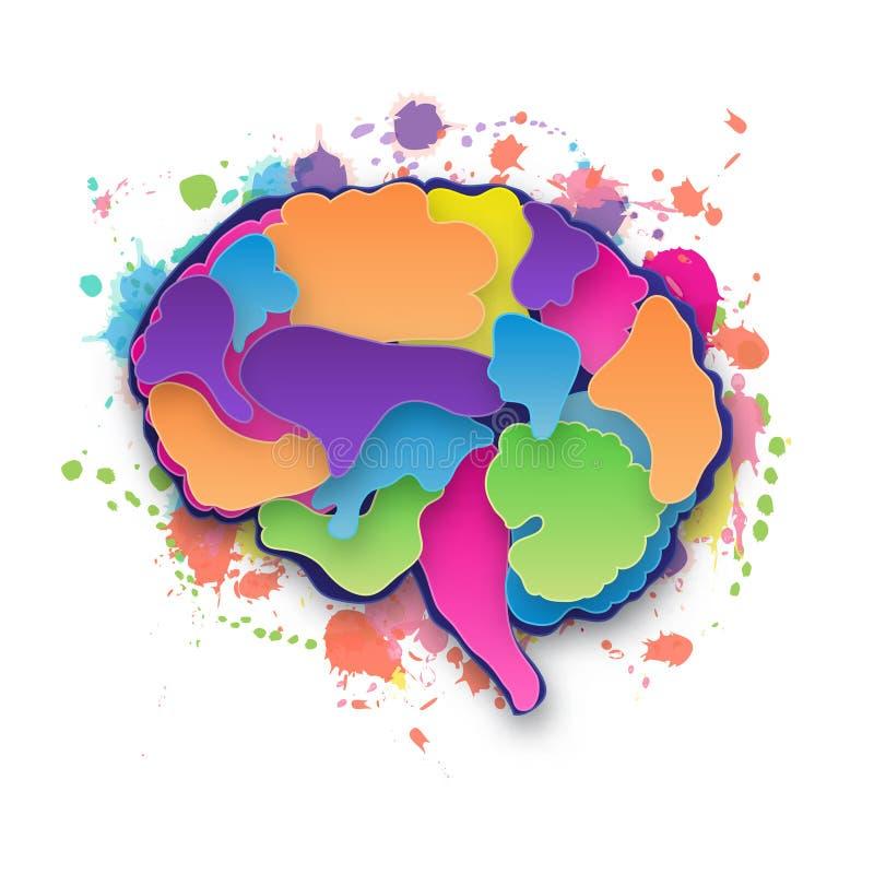 Ejemplo colorido del cerebro del vector stock de ilustración