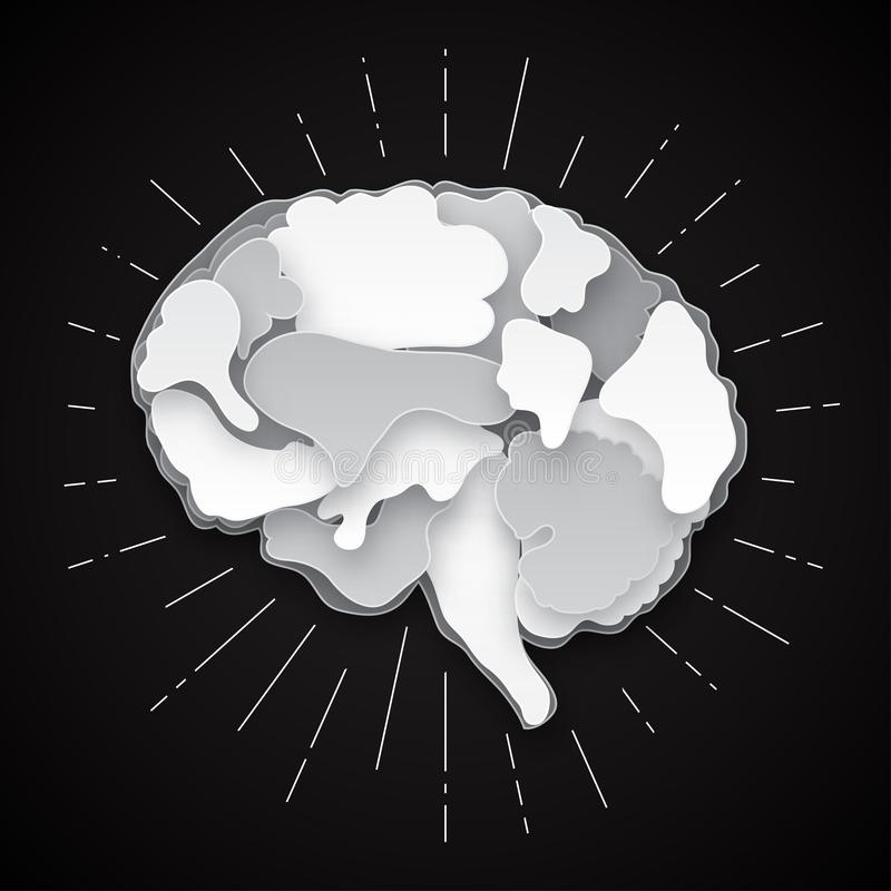 Ejemplo colorido del cerebro del vector, acodado cortado stock de ilustración