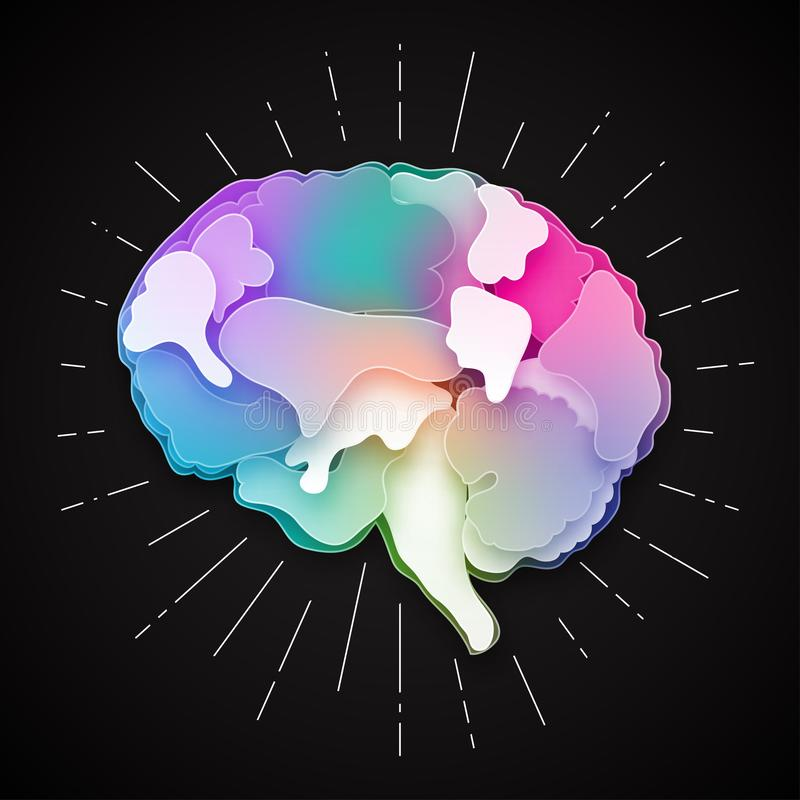 Ejemplo colorido del cerebro del vector, acodado cortado libre illustration