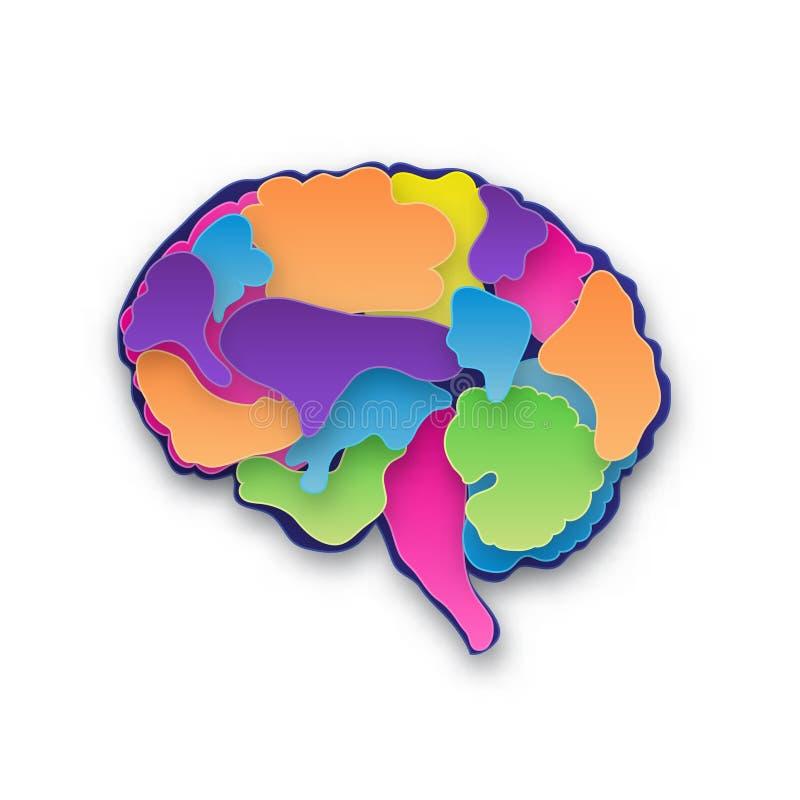 Ejemplo colorido del cerebro del vector, pape coloreado cortado acodado stock de ilustración