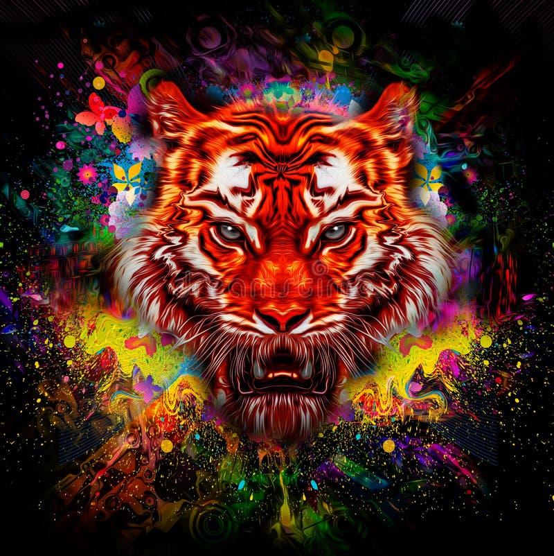 Ejemplo colorido del tigre ilustración del vector