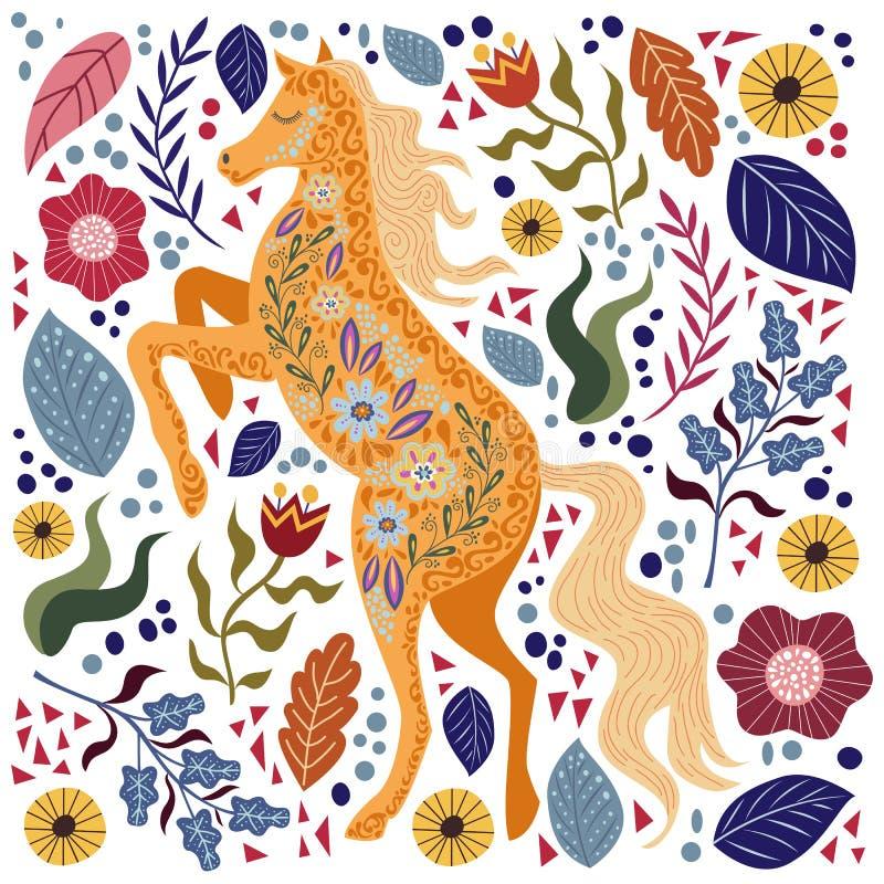 Ejemplo colorido del vector del arte con el caballo y las flores populares abstractos hermosos libre illustration