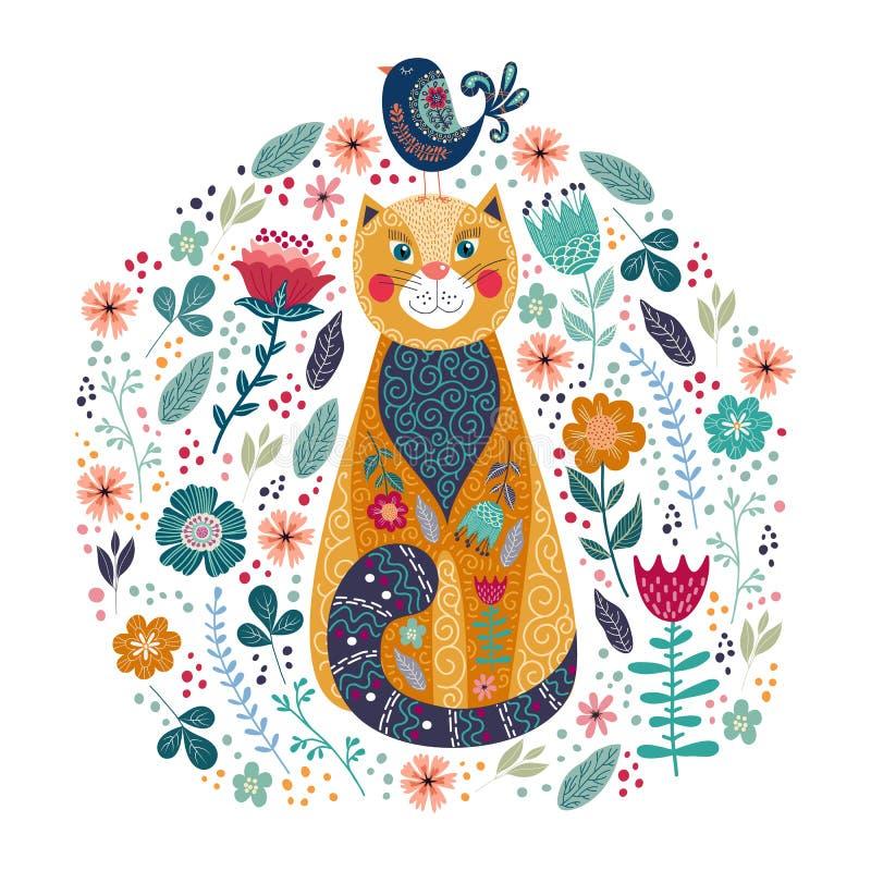 Ejemplo colorido del vector del arte con el gato, el pájaro y las flores lindos en un fondo blanco stock de ilustración