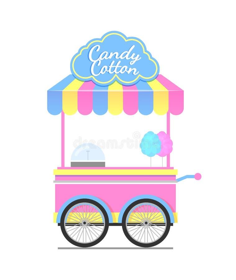 Ejemplo colorido del vector del carro del algodón del caramelo libre illustration