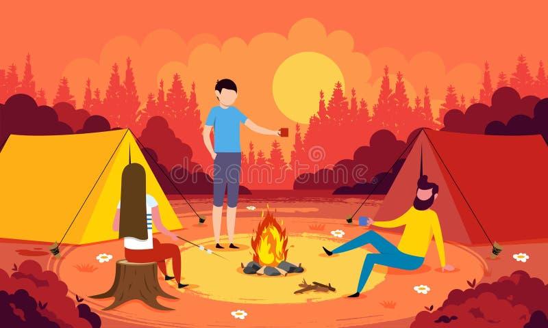 Ejemplo colorido del vector del concepto que acampa con la melcocha de la asación de la gente libre illustration