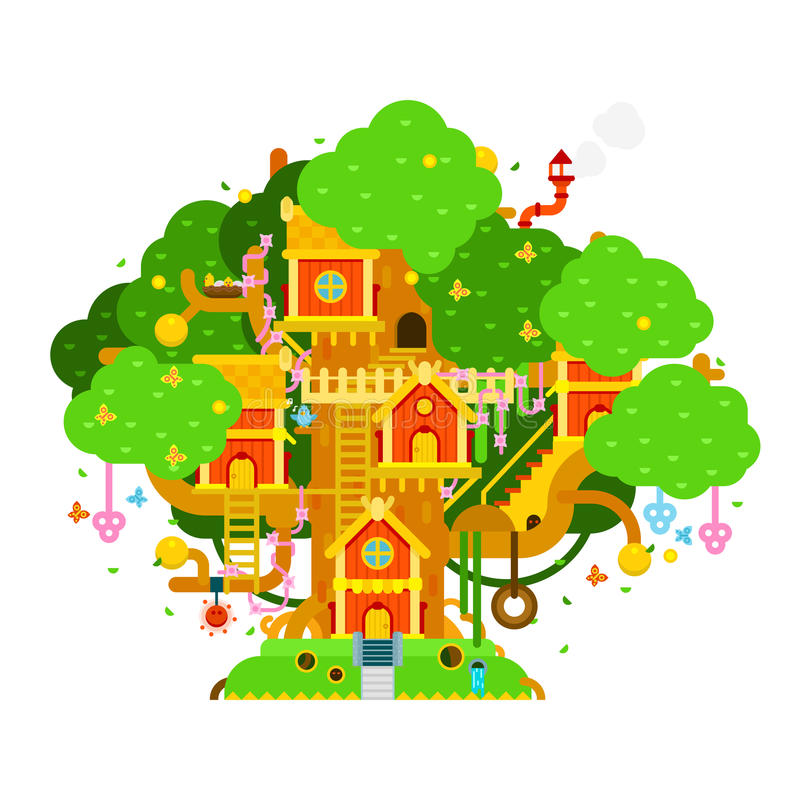 Ejemplo colorido del vector de la casa del árbol de los niños con las casas, libre illustration