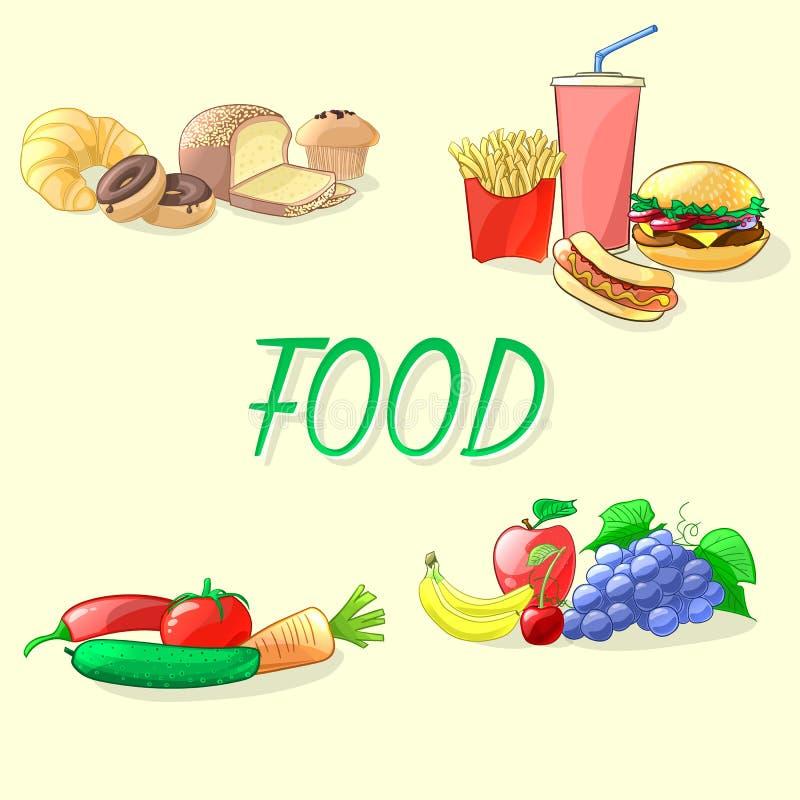 Ejemplo colorido del vector de la comida Alimentos de preparación rápida, verduras, frutas stock de ilustración