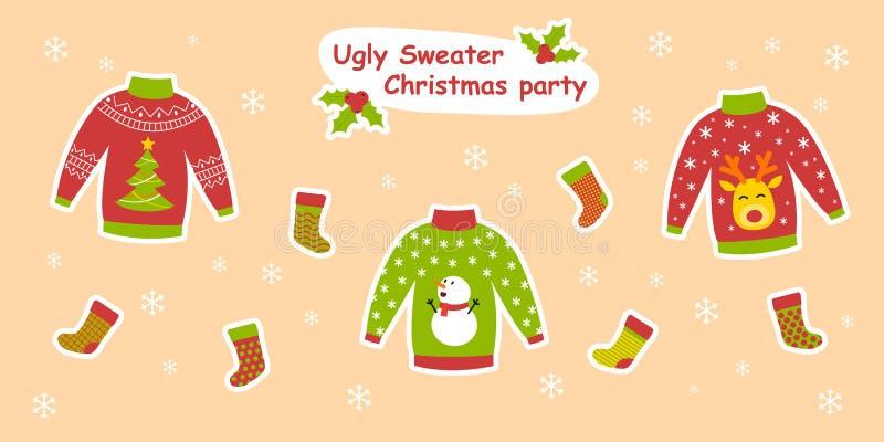 Ejemplo colorido del vector de la fiesta de Navidad fea del suéter ilustración del vector