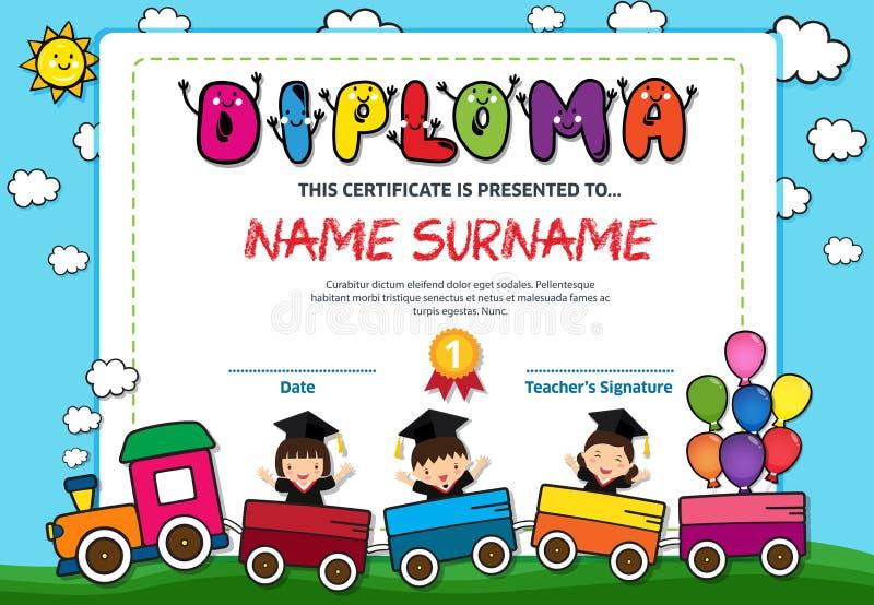 Ejemplo colorido del vector de la plantilla del diseño del fondo del certificado del diploma de los niños del preescolar imagen de archivo