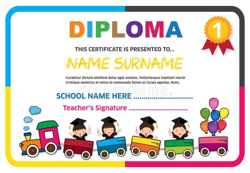 Ejemplo colorido del vector de la plantilla del diseño del fondo del certificado del diploma de los niños del preescolar fotos de archivo
