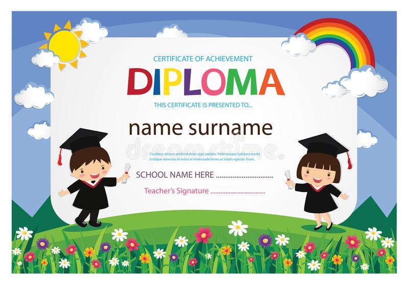 Ejemplo colorido del vector de la plantilla del diseño del fondo del certificado del diploma de los niños del preescolar imagenes de archivo