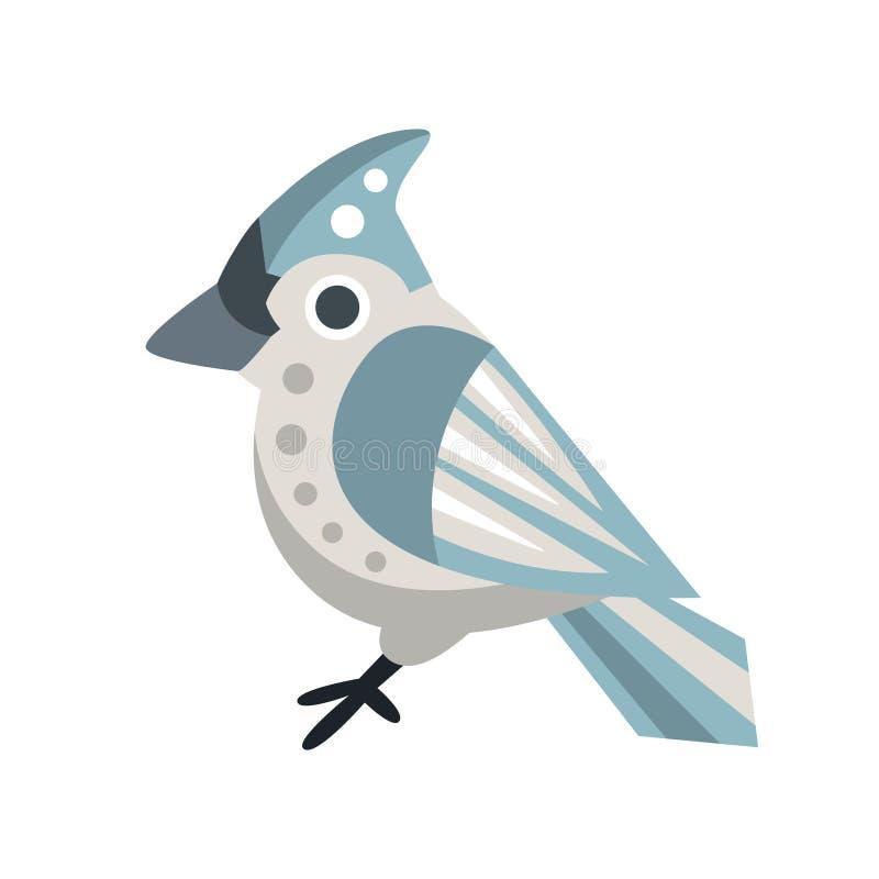 Ejemplo colorido del vector del personaje de dibujos animados del pájaro del Waxwing ilustración del vector