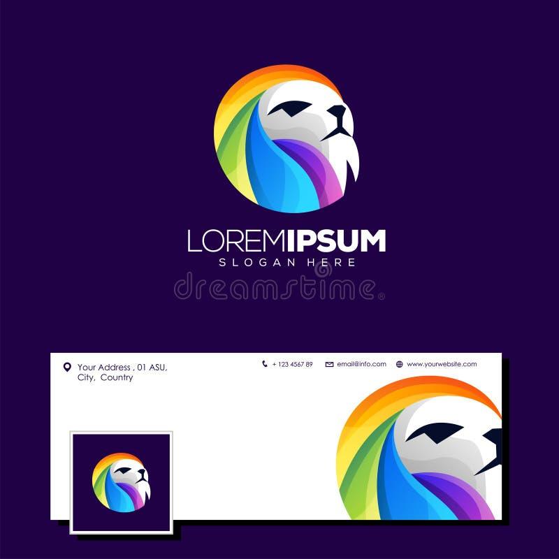 Ejemplo colorido del vector del diseño del logotipo del león stock de ilustración