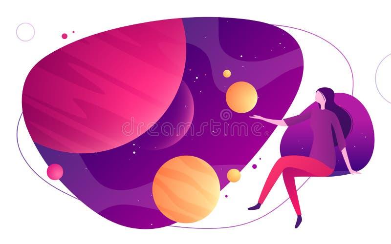 Ejemplo colorido del vector en el tema de la realidad del espacio, de la imaginación, de la exploración, de la innovación, vir ilustración del vector