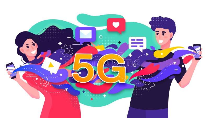 Ejemplo colorido del vector que representa una red celular 5G con dos datos que fechan que fluyen rápidos felices de la gente jov libre illustration