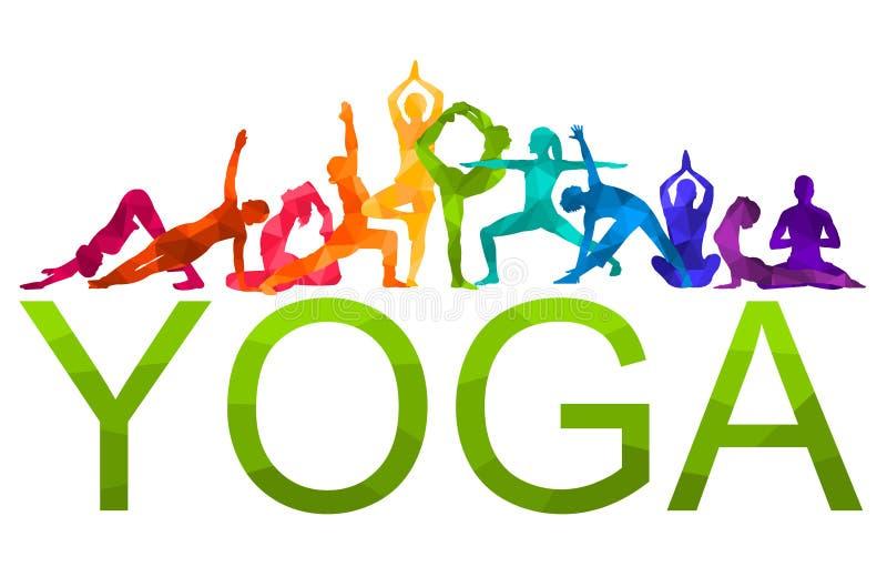 Ejemplo colorido detallado del vector de la yoga de la silueta Concepto de la aptitud gimnasia AerobicsSport libre illustration