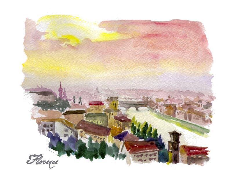 Ejemplo colorido dibujado mano de la acuarela de la opinión de la ciudad de Florencia stock de ilustración
