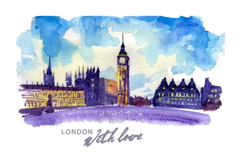 Ejemplo colorido dibujado mano de la acuarela de la opinión de la ciudad de Londres stock de ilustración