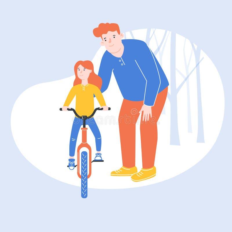 Ejemplo colorido, en el cual el padre está aprendiendo a su hija que monta una bicicleta ilustración del vector