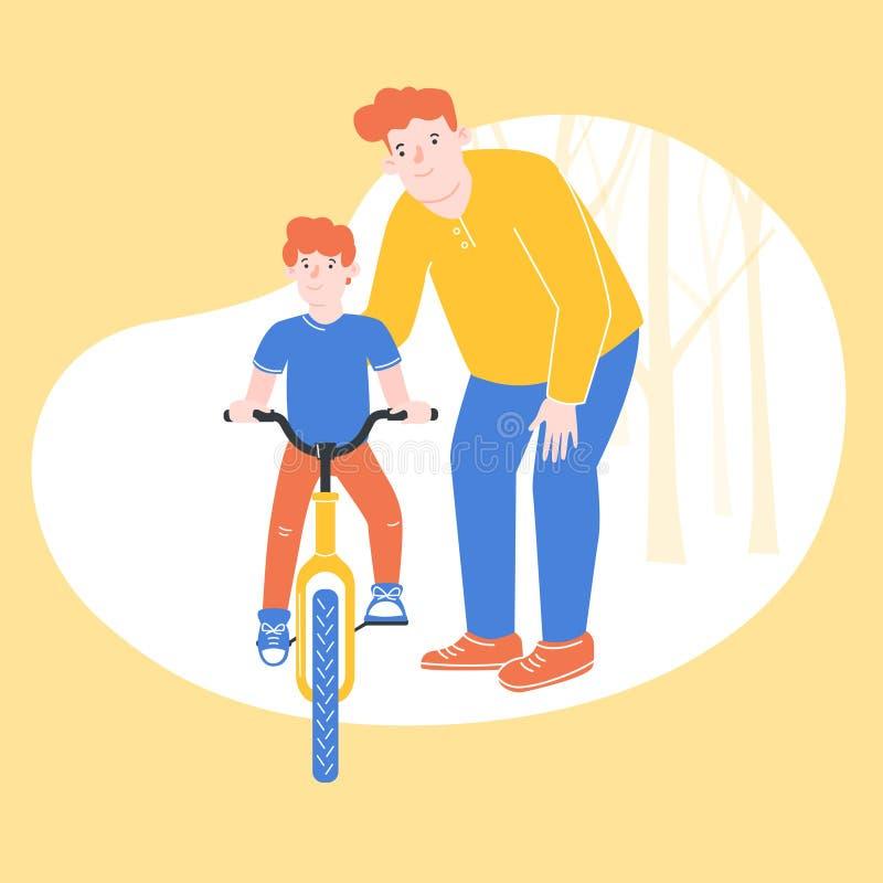 Ejemplo colorido, en el cual el padre está aprendiendo a su hijo que monta una bicicleta stock de ilustración