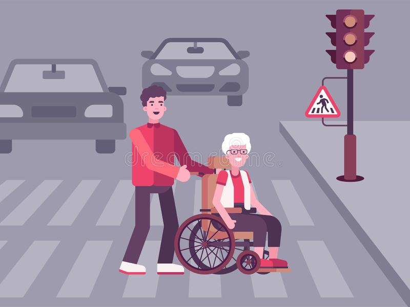 Ejemplo colorido en el cual un hombre joven ayuda a una mujer mayor ilustración del vector