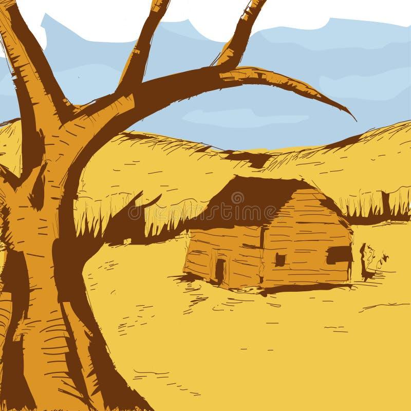 Ejemplo colorido gráfico de la opinión del país Árbol viejo y una casa vieja libre illustration
