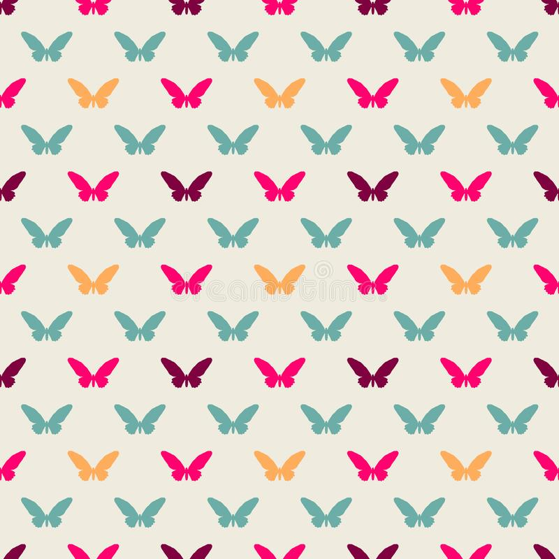 Ejemplo colorido inconsútil del vector del modelo con las mariposas planas del estilo stock de ilustración