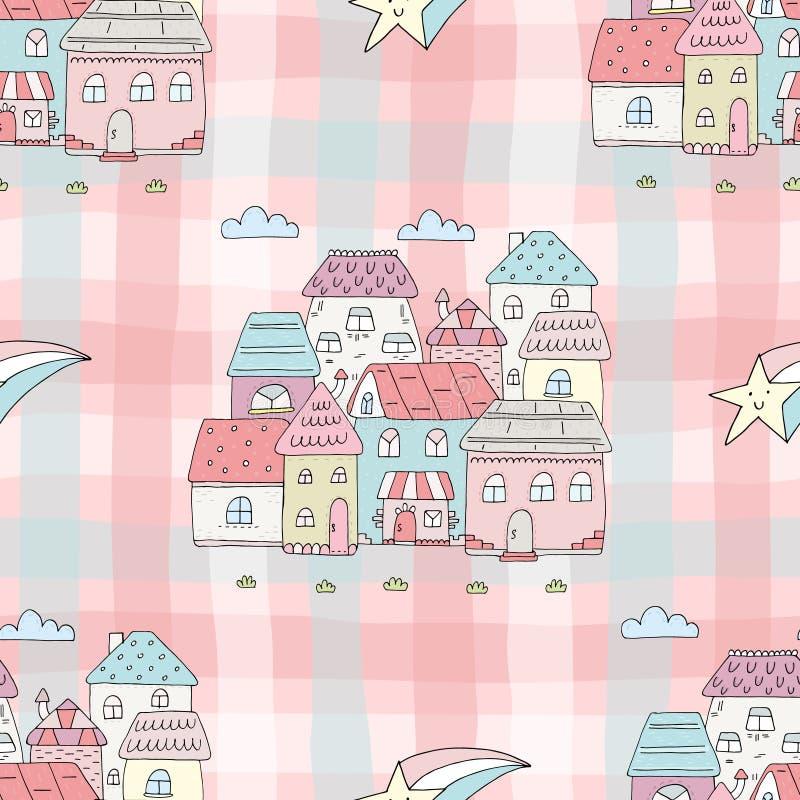 Ejemplo colorido inconsútil del vector del modelo de las casas stock de ilustración