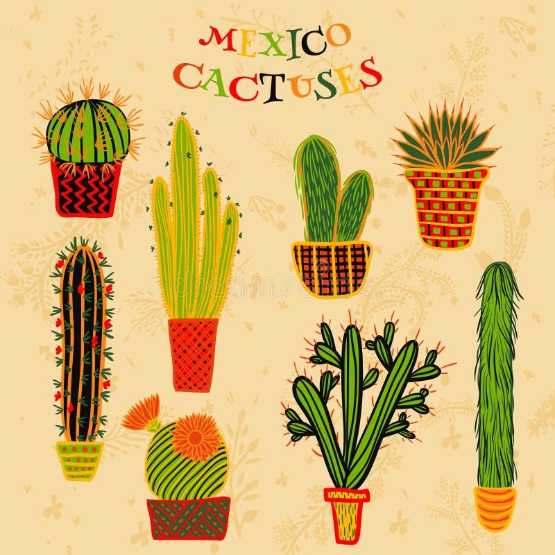 Ejemplo colorido plano de plantas y de cactus suculentos mexicanos en potes stock de ilustración