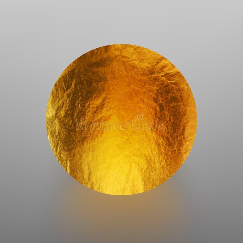 Ejemplo común brillante, círculo brillante del vector de la hoja de oro Textura de la hoja de metal aislada en fondo gris ilustración del vector