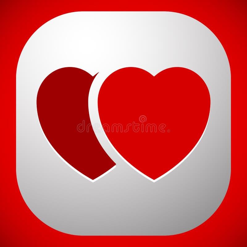 Ejemplo común con el adorno del corazón, forma del corazón ilustración del vector