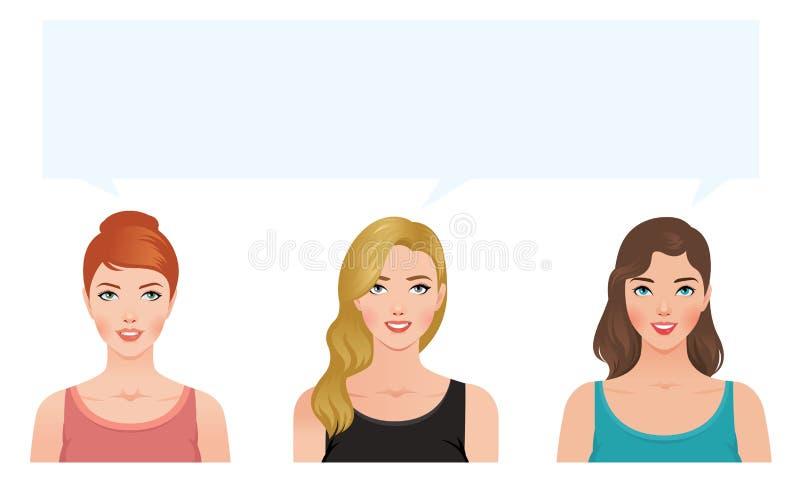 Ejemplo común del vector de la morenita del blonde de tres mujeres jovenes stock de ilustración