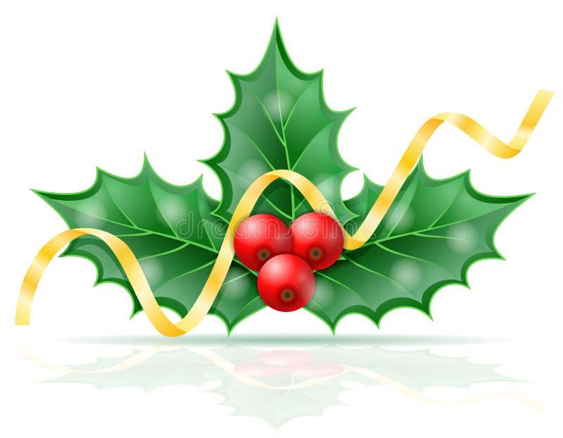 Ejemplo común del vector de las bayas del acebo de la Navidad foto de archivo libre de regalías