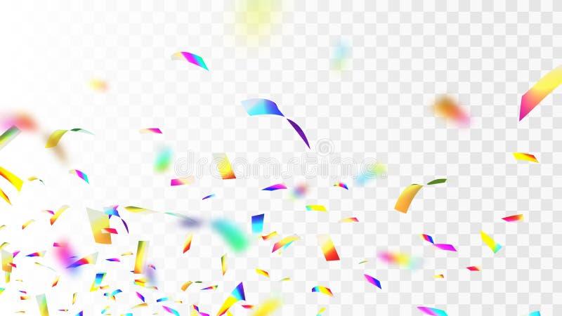 Ejemplo común del vector defocusing el confeti iridiscente brillante, brillante del arco iris aislado en fondo a cuadros transpar ilustración del vector
