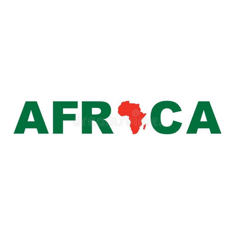 Ejemplo común del vector del icono del mapa de ÁFRICA del vector CON EL TEXTO stock de ilustración