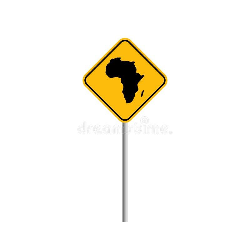 Ejemplo común del vector del icono del mapa de ÁFRICA del vector con la señal de tráfico ilustración del vector