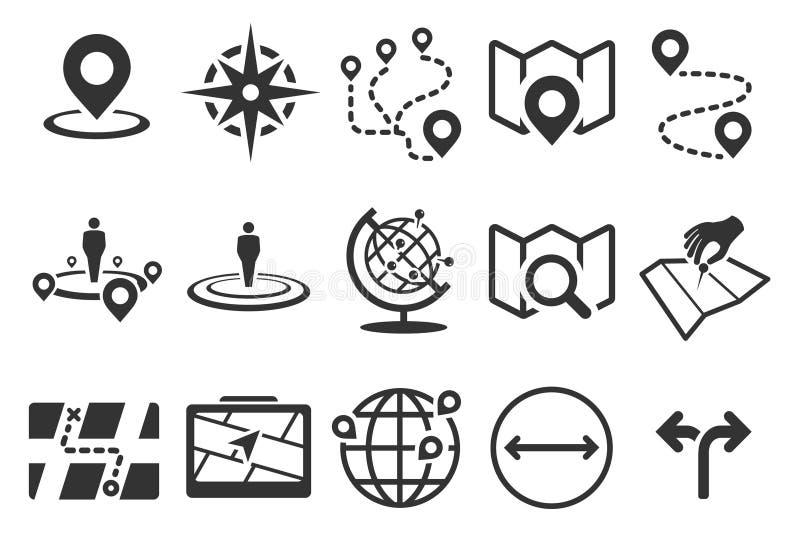 Ejemplo común del vector: Iconos del mapa libre illustration