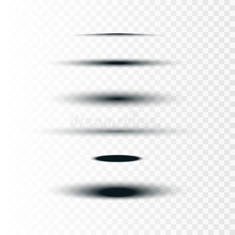Ejemplo común del vector realista alrededor y sistema del óvalo de sombras aisladas en fondo transparente Los divisores de la eti stock de ilustración