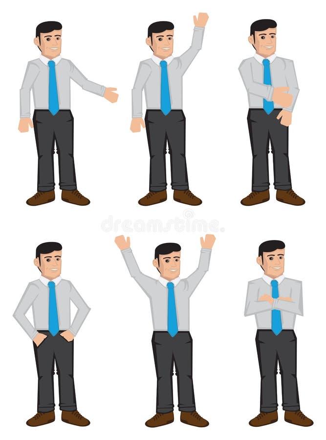 Ejemplo completo del vector de los iconos del color de los hombres de negocios del cuerpo ilustración del vector
