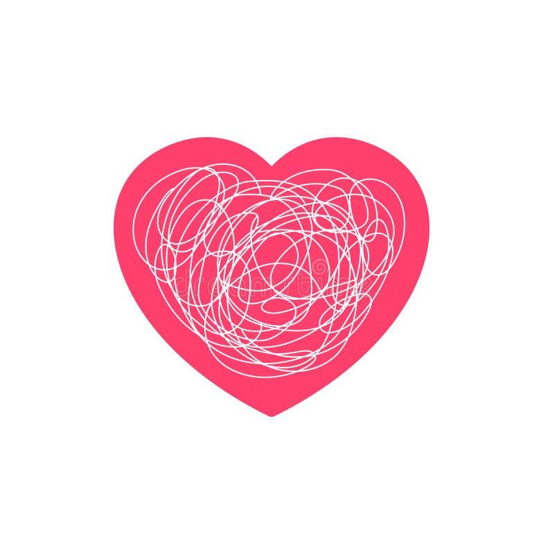 Ejemplo complicado de la sensación del amor Símbolo del corazón con la línea sucia enredada garabato del garabato stock de ilustración