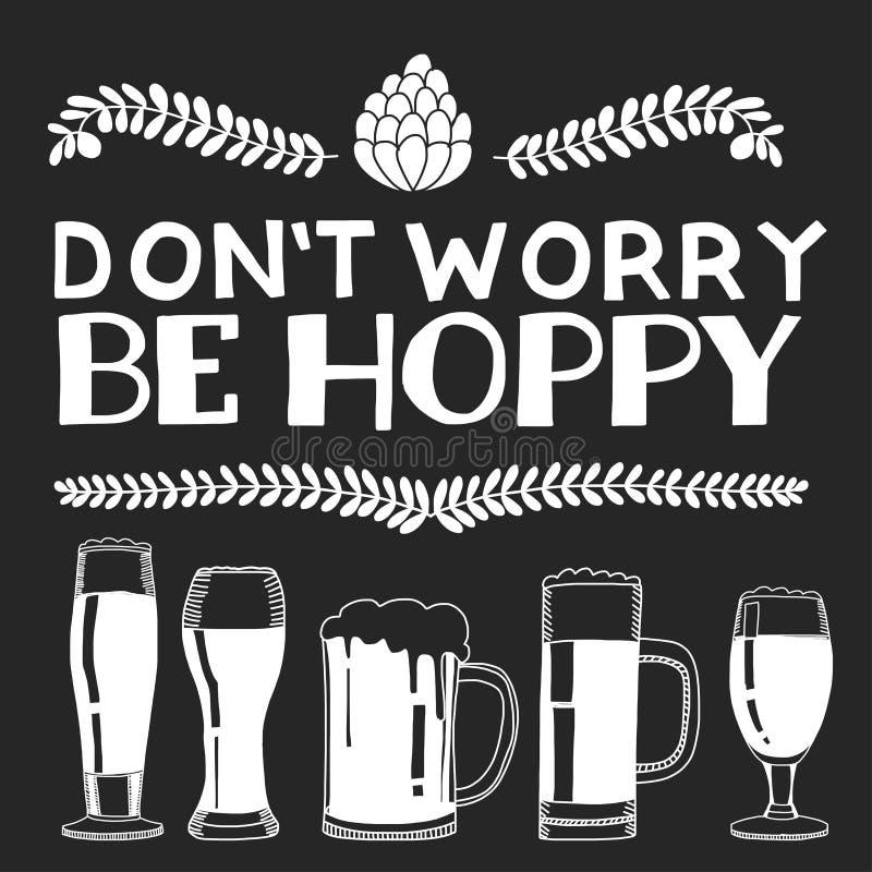 Ejemplo con cita sobre la cerveza ilustración del vector