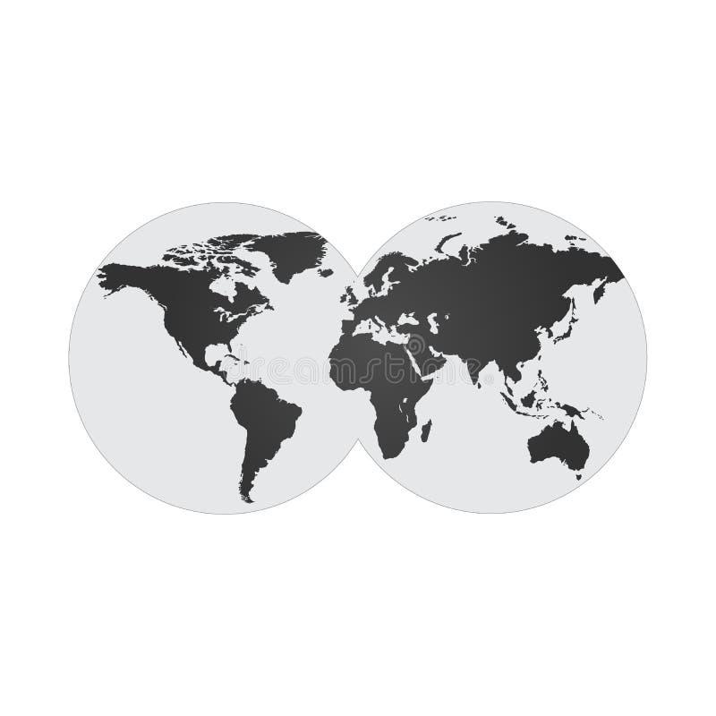 ejemplo con dos hemisferios, mapa del mundo del globo en dos círculos Ilustración del vector aislada en el fondo blanco stock de ilustración