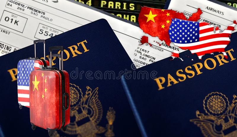 Ejemplo con dos pasaportes extranjeros, dos maletas; con el chino China y con las banderas americanas, los boletos y la bandera d imágenes de archivo libres de regalías