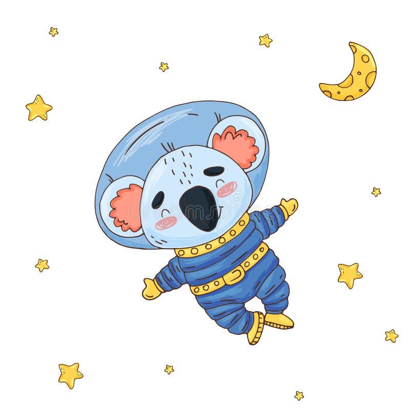 Ejemplo con el astronauta lindo de la koala de la historieta en espacio stock de ilustración