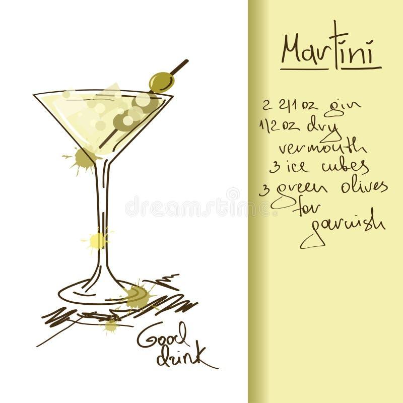 Ejemplo con el cóctel de Martini stock de ilustración