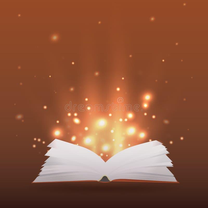 Ejemplo con el libro abierto, rayos de la luz y chispas ilustración del vector