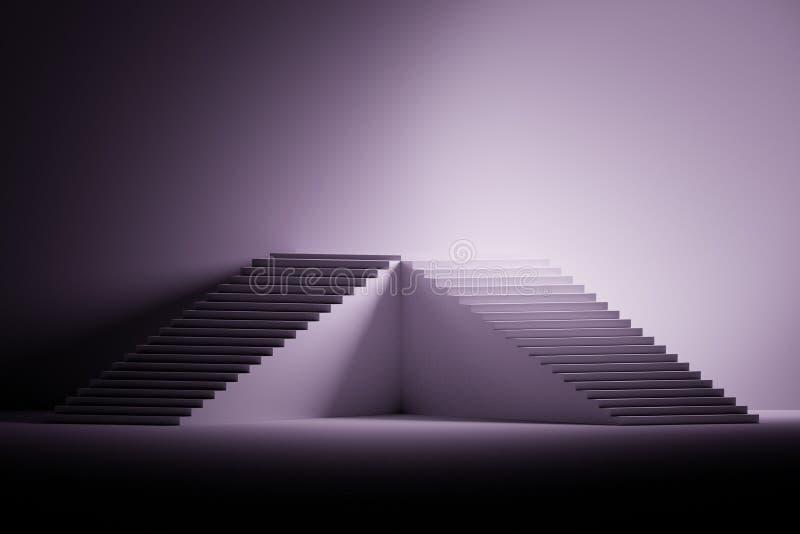 Ejemplo con el pedestal hecho de escaleras en color negro, púrpura y blanco ilustración del vector