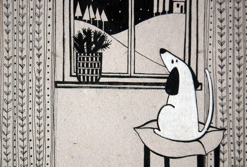 Ejemplo con el perro lindo que mira hacia fuera la ventana ilustración del vector